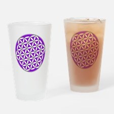 Flower of Life Purple Drinking Glass