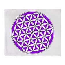 Flower of Life Purple Throw Blanket