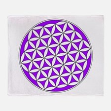 Flower of Life Purple Throw Blanket