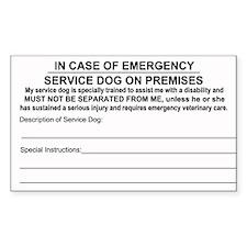 In Case of Emergency Service Dog on Premise Sticke