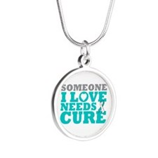 Cervical Cancer Needs A Cure Silver Round Necklace