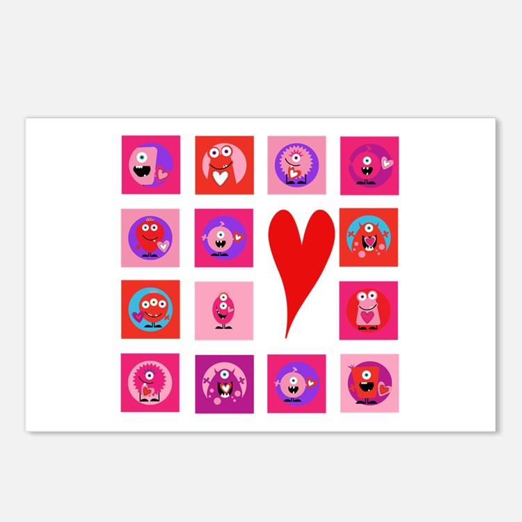 Valentine Monsters Postcards (Package of 8)