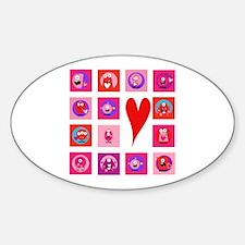Valentine Monsters Sticker (Oval)