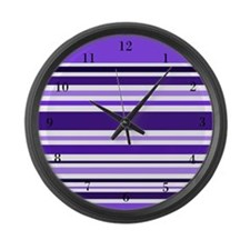 Purple Striped Large Wall Clock