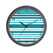 Teal Striped Wall Clock