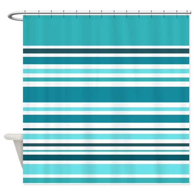 Teal Striped Shower Curtain By Giftsofgrace