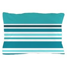 Teal Striped Pillow Case