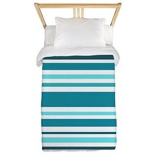 Teal Striped Twin Duvet