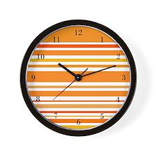 Orange Striped Wall Clock