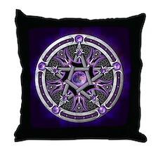 Purple Moon Pentacle Throw Pillow