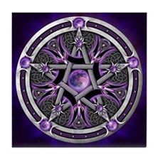 Purple Moon Pentacle Tile Coaster