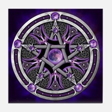 Purple Moon Pentacle Tile Coaster