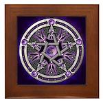 Purple Moon Pentacle Framed Tile
