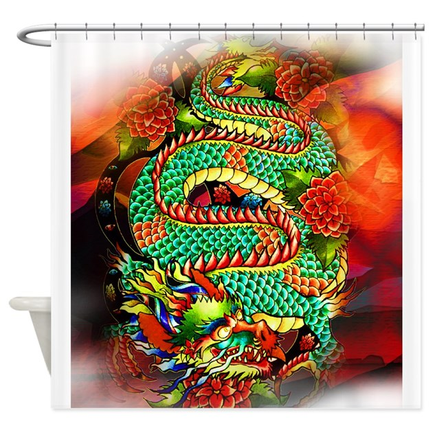 Tattoo oriental dragon shower curtain by aintwegotfun for How to shower with a new tattoo