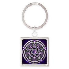 Purple Moon Pentacle Keychains