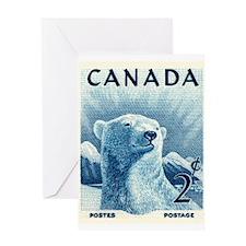 Vintage 1953 Canada Polar Bear Postage Stamp Greet