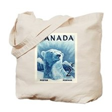 Vintage 1953 Canada Polar Bear Postage Stamp Tote