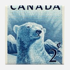 Vintage 1953 Canada Polar Bear Postage Stamp Tile