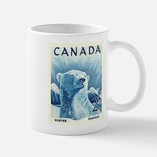 Vintage 1953 Canada Polar Bear Postage Stamp Mugs