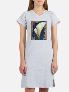 Tuxedo Cuff Calla Lily Painting Women's Nightshirt