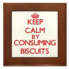 Keep calm by consuming Biscuits Framed Tile