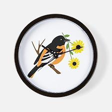 Black Eyed Susan Bird Wall Clock