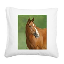 Bay Horse Square Canvas Pillow