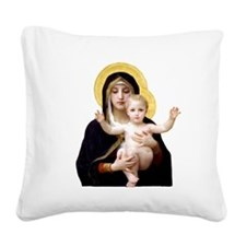 Virgin of the Lilies Square Canvas Pillow