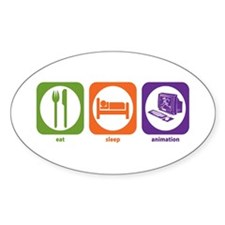Eat Sleep Animation Oval Decal