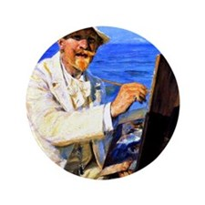 """Kroyer - Self-Portrait, Sitting by his 3.5"""" Button"""