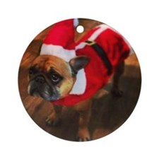 Monty The Frenchie Round Ornament