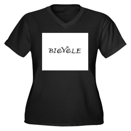 BICYCLE WORD - FINE HAND Women's Plus Size V-Neck