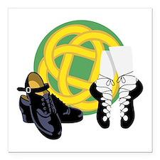 """Celtic Knot Irish Shoes Square Car Magnet 3"""" x 3"""""""