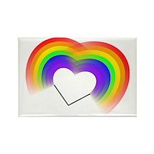 Double rainbow heart Rectangle Magnet