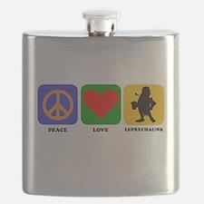 Peace Love Leprechauns Flask