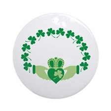 Claddagh Heart Crown Shamrocks Ornament (Round)