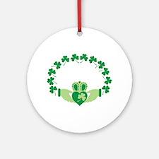 Claddagh Heart Crown Shamrocks Ornament (Round)