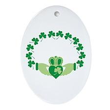 Claddagh Heart Crown Shamrocks Ornament (Oval)