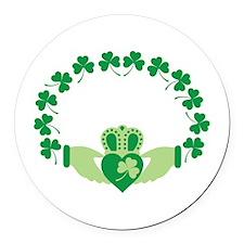 Claddagh Heart Crown Shamrocks Round Car Magnet