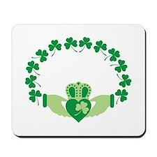 Claddagh Heart Crown Shamrocks Mousepad