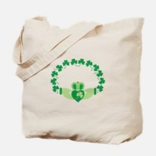 Claddagh Heart Crown Shamrocks Tote Bag