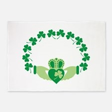 Claddagh Heart Crown Shamrocks 5'x7'Area Rug