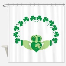 Claddagh Heart Crown Shamrocks Shower Curtain
