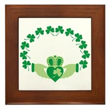 Claddagh Heart Crown Shamrocks Framed Tile