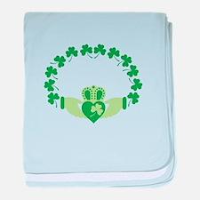 Claddagh Heart Crown Shamrocks baby blanket