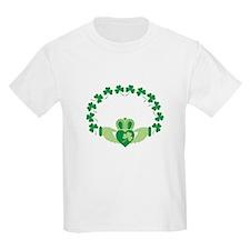 Claddagh Heart Crown Shamrocks T-Shirt