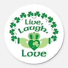 Live, Laugh, Love Round Car Magnet