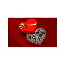 Open chocolate Heart Box 3'x5' Area Rug