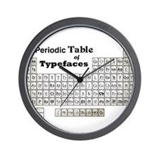 Periodic Table of Typography Wall Clock