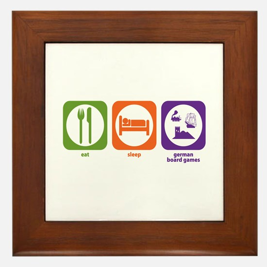 Eat Sleep German Board Games Framed Tile